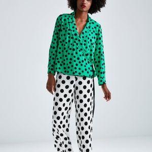Zara Polka-Dot Tie Wrap Blouse with Collar  Flowy